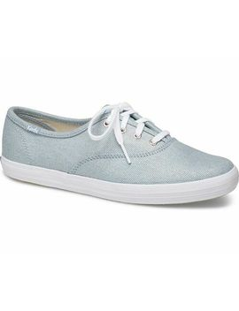 Keds Women's Champion Iridescent Denim Lace Up Sneakers Light Blue, Pick A Size by Keds