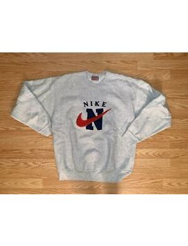 Vtg 90s Men's Nike Boot 👢 Grey Crewneck Sweatshirt Swoosh Spell Out Xl A15 by Nike