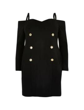 Plus Black Bardot Mini Dress by River Island
