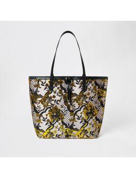 Grey Floral Jacquard Shopper Tote Bag by River Island