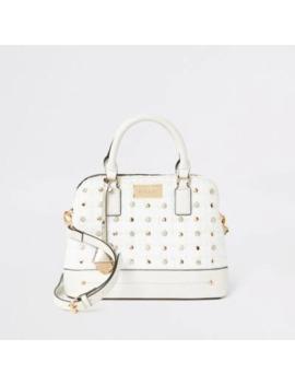 Cream Diamante Studded Cross Body Bag by River Island
