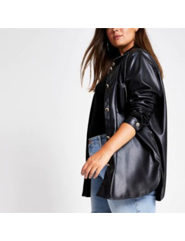 Plus Black Faux Leather Shirt by River Island
