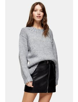 Knitted Chunky Curved Hem Jumper by Topshop
