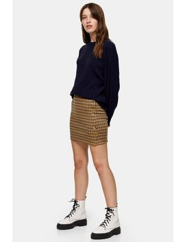 Mustard Check Jersey Button Mini Skirt by Topshop