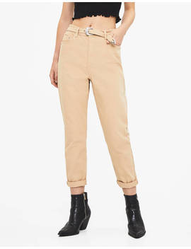 Pantaloni Mom Fit Con Cintura by Bershka
