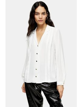 White Pleated Shirt by Topshop