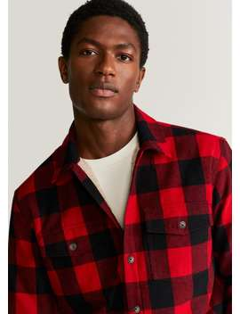 Faux Shearling Interior Checked Overshirt by Mango