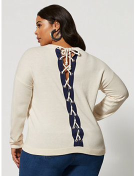 Maelie Lace Up Back Sweater by Fashion To Figure