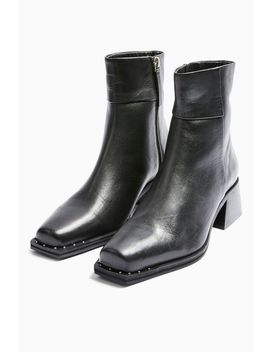 Mystic Leather Black Square Toe Boots by Topshop