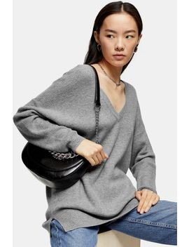 Grey V Neck Knitted Jumper With Cashmere by Topshop
