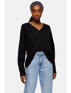 Knitted Black V Neck Jumper With Wool by Topshop