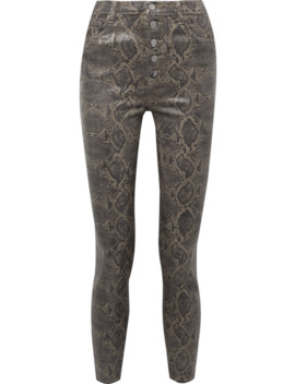 Lillie Cropped Coated Snake Print Skinny Jeans by J Brand