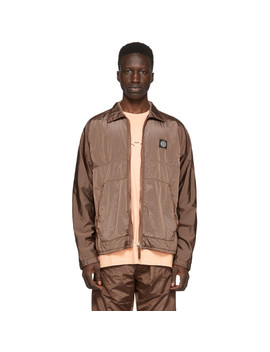 Orange Zip Up Overshirt Jacket by Stone Island