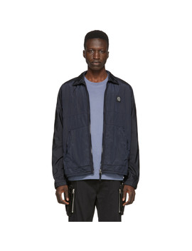 Navy Zip Up Overshirt Jacket by Stone Island