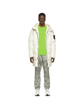 Off White Down Hooded Puffer Jacket by Stone Island