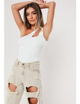 White Sleeveless Cut Out Neck Knitted Bodysuit by Missguided