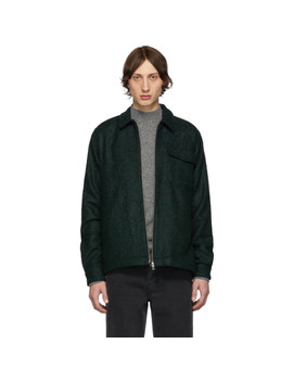 Black & Green Bouclé Zipshirt Jacket by Schnayderman's