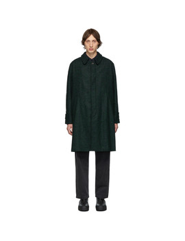 Black & Green Oversized Bouclé Coat by Schnayderman's