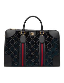 Navy Velvet Gg Duffle Bag by Gucci