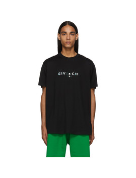 Black Reflective 'givenchy Paris' T Shirt by Givenchy