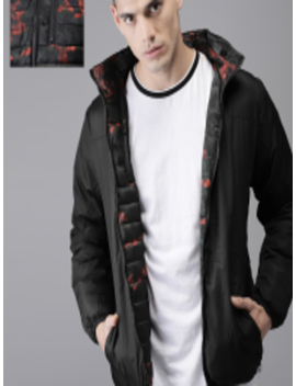 Men Red & Black Printed Reversible Puffer Jacket by Here&Now