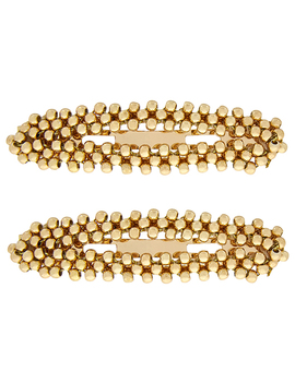 2x Gold Beaded Snap Hair Clips by Accessorize