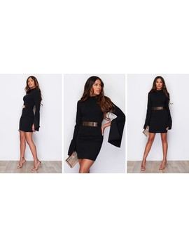 Clara Cape Sleeve Belted Midi Dress Black by Girl In Mind