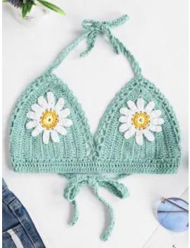 Sale Halter Floral Crochet Bikini Top   Cyan Opaque M by Zaful