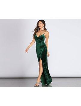 Lydia Formal Velvet Wrap Dress by Windsor