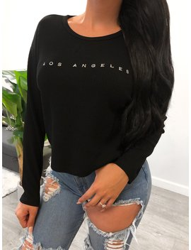 Los Angeles Knit Top (Black) by Laura's Boutique