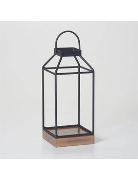 "10"" Mallory Metal Outdoor Lantern With No Glass Black   Smart Living by Smart Living"