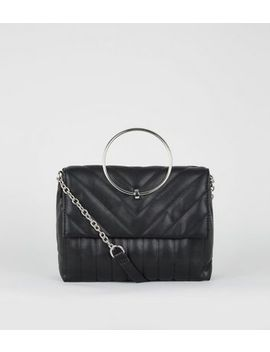 Black Quilted Ring Handle Bag by New Look