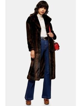 Brown Luxe Faux Fur Coat by Topshop