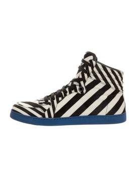 Pony Hair Stripe Sneakers by Gucci