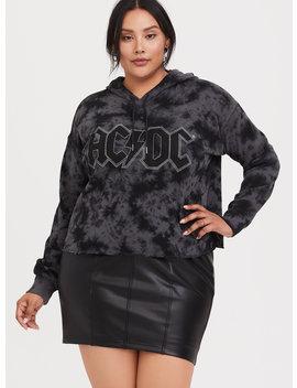 Black Ac/Dc Tie Dye Crop Hoodie by Torrid