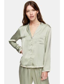 Sage Hammered Satin Pyjama Shirt by Topshop