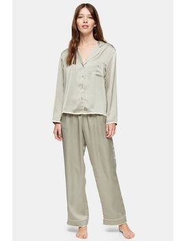 Sage Hammered Satin Pyjama Trousers by Topshop