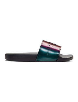 Black Iridescent Flat Pool Slides by Givenchy