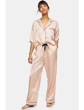 Blush Pink Hammered Satin Pyjama Trousers by Topshop