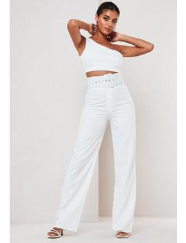 White Co Ord Super Belted Straight Leg Trousers by Missguided