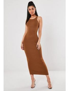 Brown Racer Neck Knitted Maxi Dress by Missguided