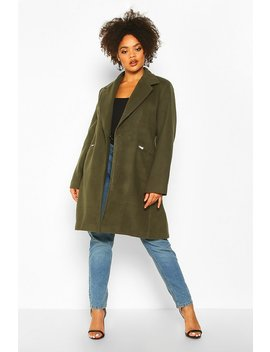 Plus Zip Front Oversized Wool Look Coat by Boohoo