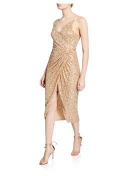 Sequined Sleeveless Wrap Dress by Jonathan Simkhai