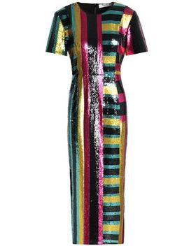 Striped Sequined Midi Dress by Diane Von Furstenberg