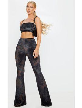 Black Tie Dye Velvet High Waisted Flared Pants by Prettylittlething
