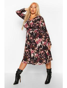 Plus Floral Wrap Self Tie Midi Dress by Boohoo