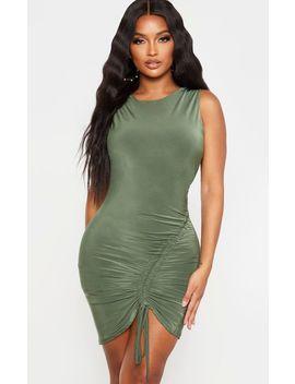 Shape Khaki Slinky Ruched Side Bodycon Dress by Prettylittlething