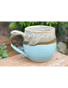 Light Blue Handmade Pottery Mug With Thumb Rest, 12oz by Etsy