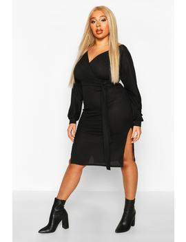 Plus Soft Rib Belted Wrap Midi Dress by Boohoo