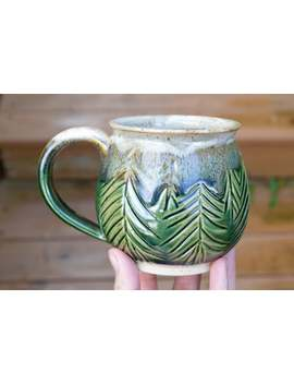 Green Forest Handmade Pottery Mug, 12oz by Etsy
